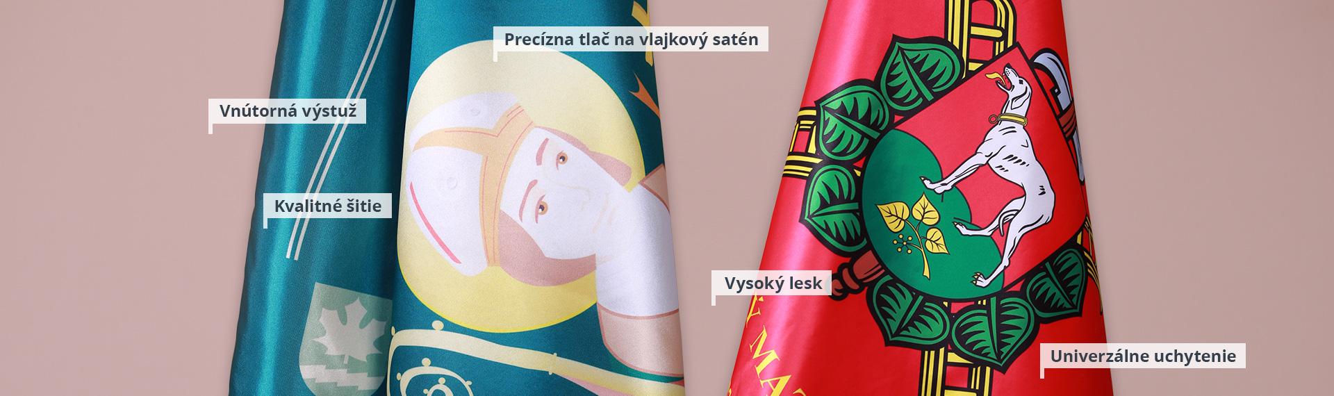 Tlačené saténové vlajky a prápory