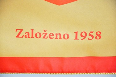 Detail tlačeného práporu SŠSŘ Brno – Bosonohy