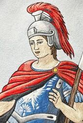 Detail výšivky Svätého Floriána, DHZ Lozorno