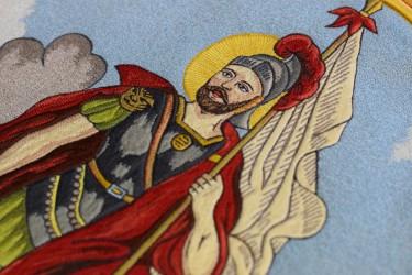 Detail výšivky Svätého Floriána, DHZ Pezinok