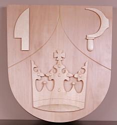 Drevený znak vyrezávaný pre obce a mestá