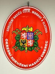 Smaltovaná hasičská oválna ceduľa so znakom SH ČMS a s veľkým štátnym znakom