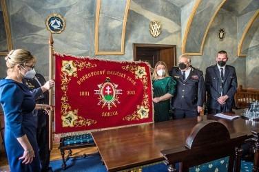 Vyšívaná hasičská zástava DHZ Skalica