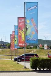 Reklamné tlačené vlajky pre spoločnosť Haribo