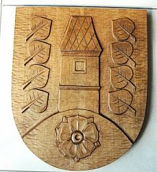 Ručne vyrezávaný znak pre obce a mesta