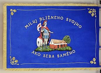 Vyšívaná hasičská zástava - dobrovoľný hasičský zbor Častkov