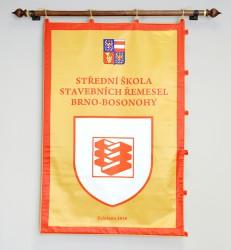 Slávnostný obojstranne tlačený saténový prápor SŠSŘ Brno – Bosonohy