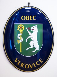 Smaltovaný ovál so znakom a názvom obce, mesta, predmestia, obec Vlkovice