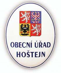 Smaltovaný ovál s veľkým štátnym znakom ČR a nápisem OBECNÍ ÚŘAD