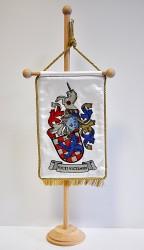 Ukážka realizácie osobného znaku, vyšívaná stolná vlajočka