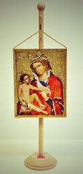 Ikonická maľba Madony z Veveří v podobe stolnej vlajočky