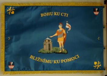 Tlačený prápor SDH Pletený Újezd, zadná strana