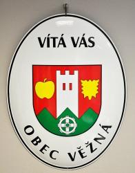 Uvítací smaltovaný ovál so znakom, názvom obce/města a s uvítacím textom