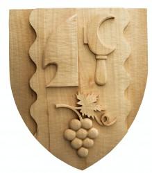 Ručne vyrezávaný znak pre obce, mesta či predmestia