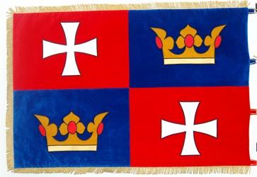 Vyšívaná slávnostná vlajka pre obec Chvalšiny