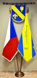 Vyšívaný znak, vlajka, stuha, zamatová vlajka ČR, zákazka pre obec