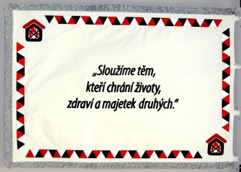 Vyšívaná vlajka pre spoločnosť – Požiarna bezpečnost s.r.o.