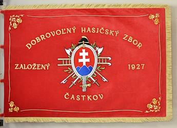 Slávnostná vyšívaná hasičská zástava DHZ Častkov