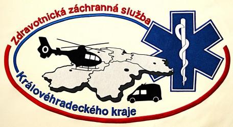 Detail výšivky práporu, zdravotnícka záchranná služba Královohradeckého kraja