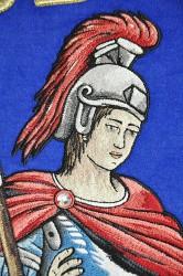 Detail výšivky Svätého Floriána, DHZ Častkov