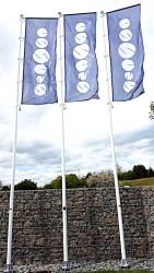 Venkovní tištěné vlajky a stožáry pro společnost Essence