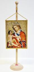 Obraz Madony s Ježíškem v podobě stolní vlaječky.