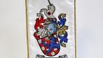 Ukázka vyšívané stolní vlaječky, sportovní kluby a zájmové spolky