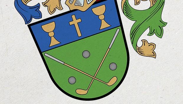 Slavnostní vyšívaná vlajka, znak a stuha golfového klubu